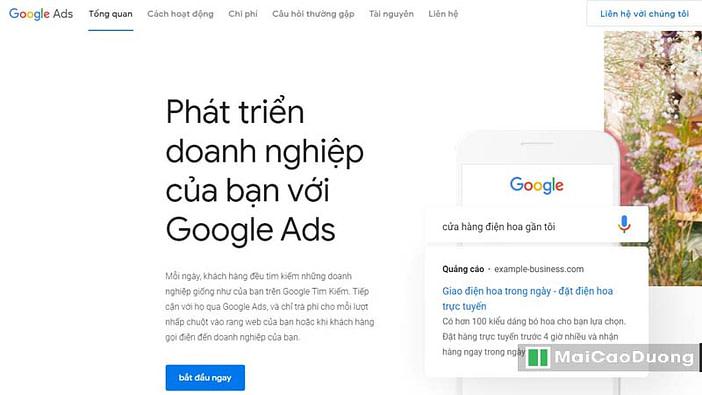 bắt đầu quảng cáo google ads