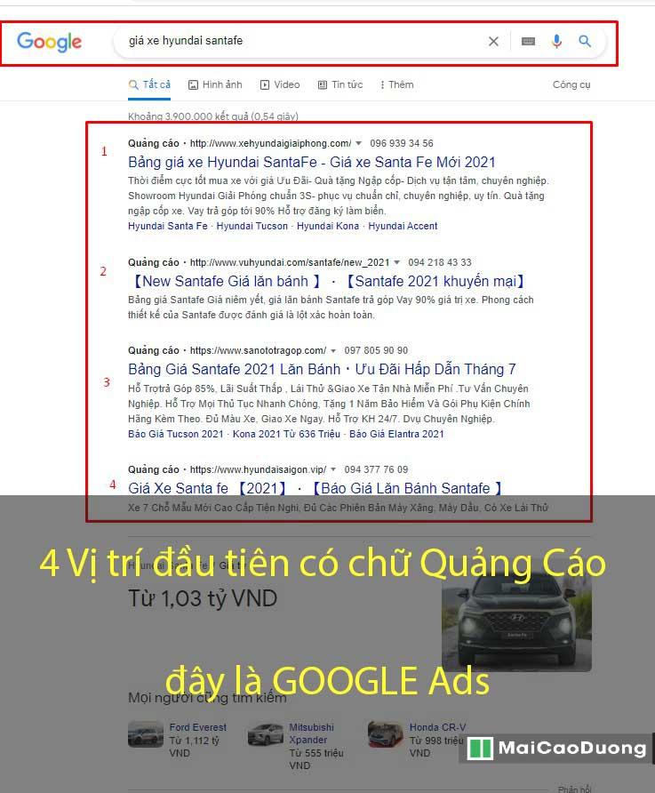 4 vị trí quảng cáo google ads