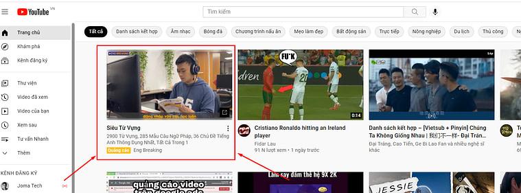 Quảng cáo xuất hiện đầu trang chủ Youtube