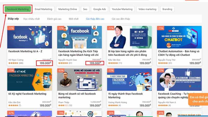 giá khoá học facebook ads online