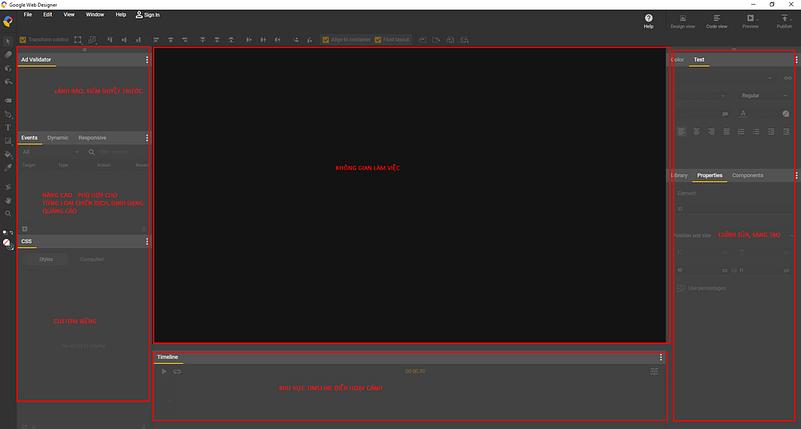 giao diện Google Web Desginer đơn giản