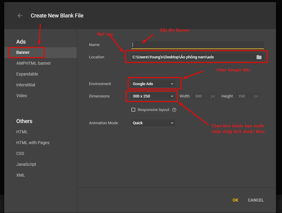 chọn nơi lưu trữ và định dạng file